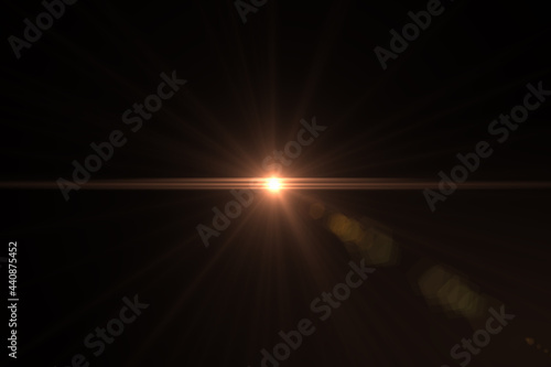 Carta da parati Natural, Sun flare on the black background