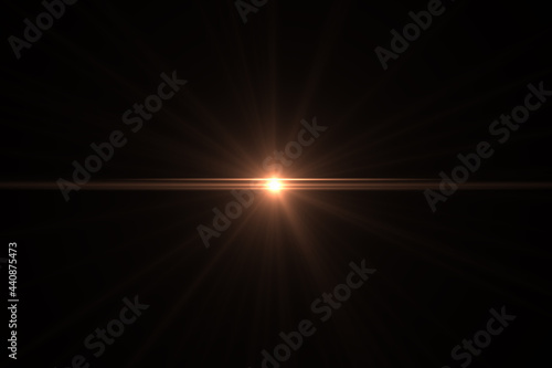 Natural, Sun flare on the black background Fototapeta