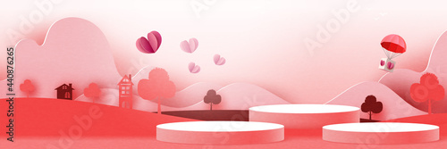 3d Cylinder podium paper cut abstract valentine's day template background Fototapet