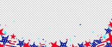 Fourth Of July Background. 4th Of July Holiday Long Horizontal Border. USA Independence Day Don Transparency Background
