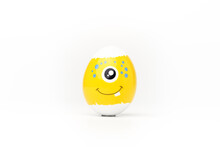 Yellow Festive Easter Egg With One-eyed Emoticon