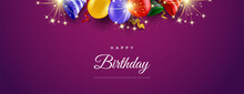 Happy Birthday Background With Colorful Balloons.