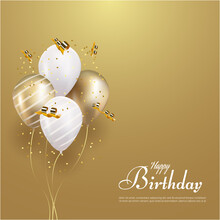 Happy Birthday With Realistic Balloon