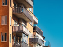 Residential Building Facade With Balconies