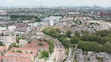 Drone Shot Over District Line Underground Trains Towards Stamford Bridge Chelsea Stadium London