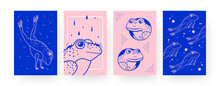 Set Of Contemporary Art Posters With Cute Frogs. Amphibian Jumping And Swimming Vector Illustrations In Creative Style. Zoology, Nature Concept For Designs, Social Media, Postcards, Invitation Cards