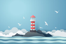 Paper Art Of Lighthouse And Sea, Origami And Travel Concept
