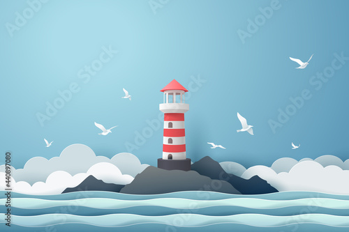 Paper art of Lighthouse and sea, origami and travel concept Fototapete