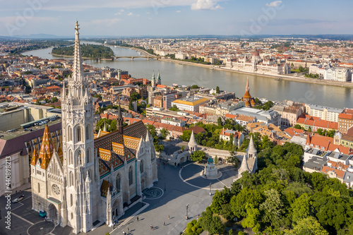 Canvastavla Matthias Church with Fisherman Bastion at Budapest from drone view