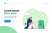 Girl Mourning Loss Of Loved One. Flat Vector Illustration. Cartoon Woman Sitting By Gravestone In Darkness And Crying. Loss, Grief, Pain, Death Concept For Banner Design Or Landing Page