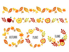 秋の葉っぱとリンゴとドングリのフレームとラインのベクターイラスト素材/紅葉/落ち葉