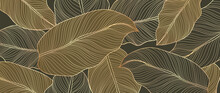 Abstract Art Golden Leaves Background Vector. Wallpaper Design With Line Art Texture From Monstera Leaves, Jungle Leaves, Exotic Botanical Floral Pattern. Design For Prints, Banner, Wall Art.
