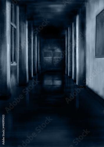 暗い廊下青 Fototapeta