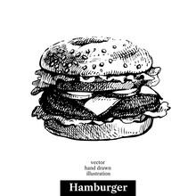 Hamburger. Vintage Fast Food Hand Drawn Sketch Illustration. Isolated Background. Menu Design