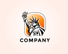 Statue Liberty Drawing Art Logo Design Template Illustration