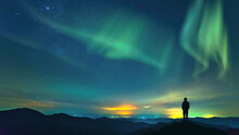 Night Of The Northern Lights (aurora) In Norway