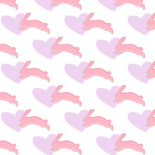 Pink Pattern With Bunnies, Suitable For Backgrounds, Textiles, Children's Products
