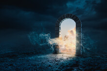 3D Rendering, Illustration Of A Stone Archway Opening To Heaven Or The Afterlife