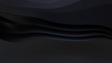 Black 3D Ribbons Form A Dark Abstract Wallpaper. 3D Render With Copy-space.