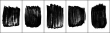 Set Of Black Brush Strokes Isolated On White. Ink Splatter. Paint Droplets. Digitally Generated Image. Vector Design Elements, Illustration, EPS 10.
