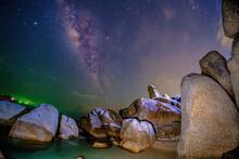 "Milky Way Sky At Rock Beach At "" Hinta Hinyai "" Tourist Attraction In Ko Samui , Surat Thani Province , Thailand"
