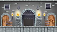 Castle Dungeon Vector Game Background, Cartoon Medieval Prison Interior Illustration, Stone Column. Ancient Basement Room Concept, Secret Underground Old Jail, Barrel, Grate. Castle Dungeon Design