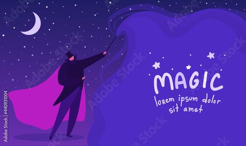 Obraz na plátně A magician casts a spell with his magic wand