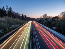 Night Traffic On The Highway In Germany