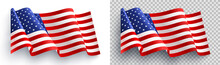 American Flag On White And Transparent Background For 4t Of July Poster Template.USA Independence Day Celebration.USA 4th Of July Promotion Advertising Banner Template For Brochures,Poster Or Banner