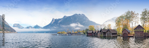 Canvas idyllic panorama landscape lake Traunsee, lakeside Ebensee with boathouses and h