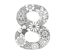 Adult Coloring Page With Number 8. Ornamental Font