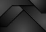 Black monochrome abstract technology corporate background. Futuristic geometry vector design