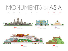 Monuments Of Asia In Cartoon Style Volume 2: Angkor Bat (Cambodia), Ragastan Samrakand (Uzbekistan), Boudhanath Stupa (Nepal), Potala Palace And Great Wall (China). Vector Illustration