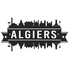 Algiers Algeria Skyline. Banner Vector Design Silhouette Art. Cityscape Travel Monuments.
