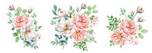 Set Watercolor Flowers Hand Painting, Floral Vintage Bouquets With Pink And White Roses. Decoration For Poster, Greeting Card, Birthday, Wedding Design. Isolated On White Background.