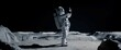 Leinwandbild Motiv WIDE Male actor in astronaut suit making selfie on a Moon Lunar movie shooting set. Shot with 2x anamorphic lens