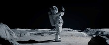 WIDE Male Actor In Astronaut Suit Making Selfie On A Moon Lunar Movie Shooting Set. Shot With 2x Anamorphic Lens