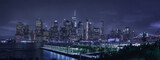 Fototapeta Nowy Jork - New York skyline and skyscrapers from New Jersey, at night, with neon noir effect