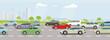 Schnellstraße mit dichten Autoverkehr und Schnellzug illustration