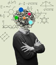 Calculation And Formulas In Man's Head. Modern Design, Contemporary Art Collage. Inspiration, Idea, Trendy Urban Magazine Style.