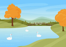 Swans Swim In River, Rural Autumn Nature Landscape Vector Illustration. Cartoon Wild Birds On Water Surface, Bridge Over River Or Lake, Trees With Yellow Autumnal Leaves Stand By Riverside Background