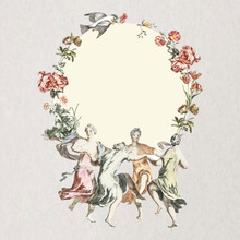 Vintage Celebrate Floral Frame Illustration, Remixed From Public Domain Collection