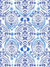 Blue Pattern Abstract Beautiful Mediterranian Splash Ceramic Tile Italian  Painting Texture Decoration On White