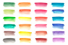 Set Of Colored Watercolor Stripes, Bright Abstract Brush Strokes On A White Background. Stylish Elements For Design.