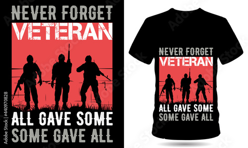 Fotografie, Obraz Never forger Veteran T-shirt design template