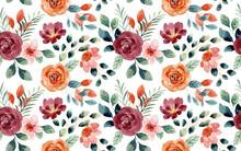 Seamless Pattern Of Rose Flower Watercolor