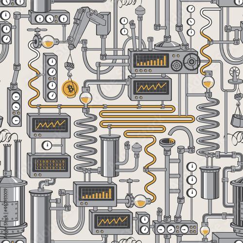 Tapety Industrialne  wzor-z-fabrycznym-przenosnikiem-produkcji-bitcoin-tlo-z-urzadzen-przemyslowych-i-zlote-monety-w-stylu-plaski-koncepcja-wydobywania-waluty-kryptograficznej-technologia-blockchain