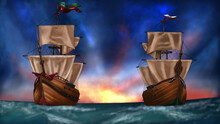 Two Ships Preparing For War In The Middle Of The Sea