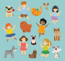 Illustration Of Cute Happy Kids With Their Pets Dogs And Cats In The Flat Style