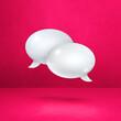 Leinwandbild Motiv White speech bubbles on pink square background